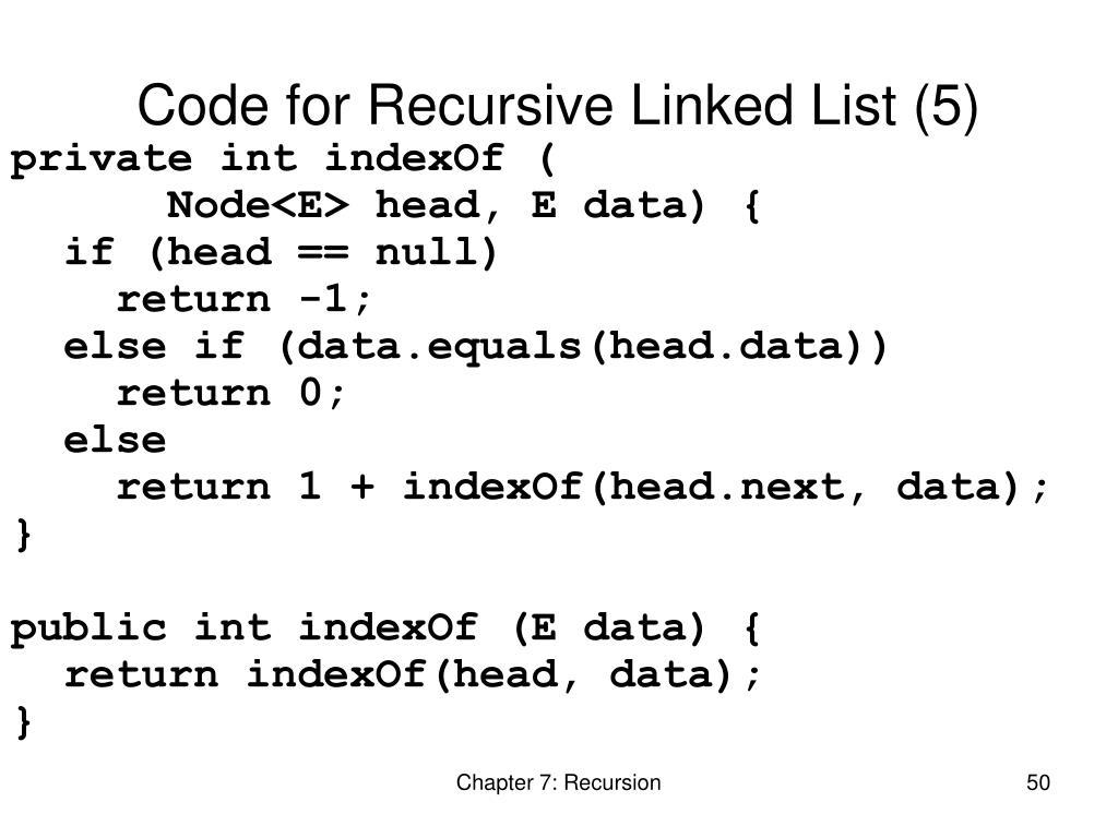 Code for Recursive Linked List (5)