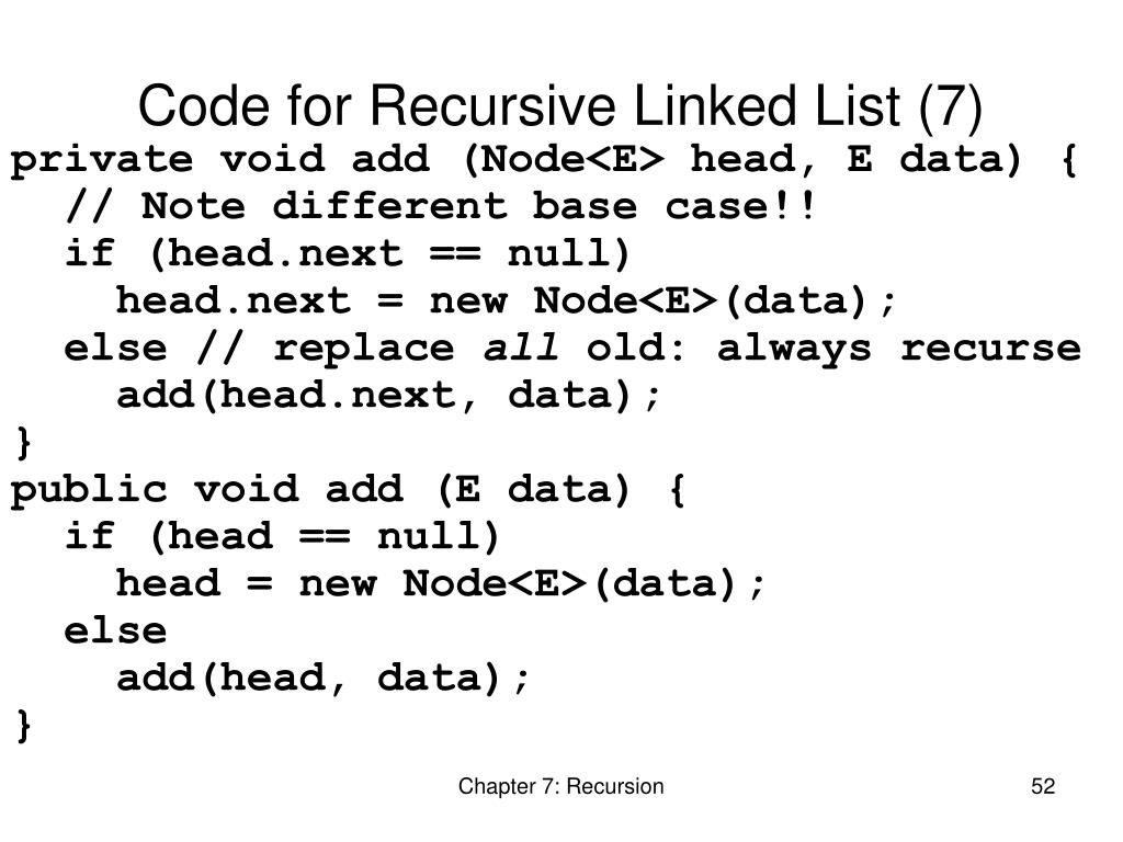 Code for Recursive Linked List (7)
