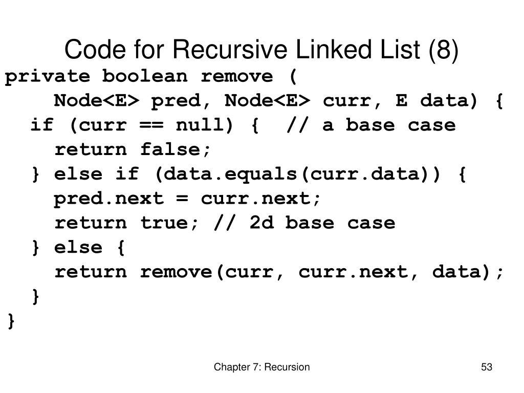 Code for Recursive Linked List (8)