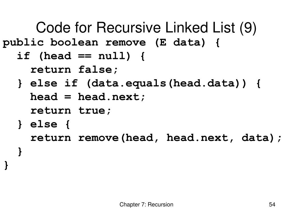 Code for Recursive Linked List (9)