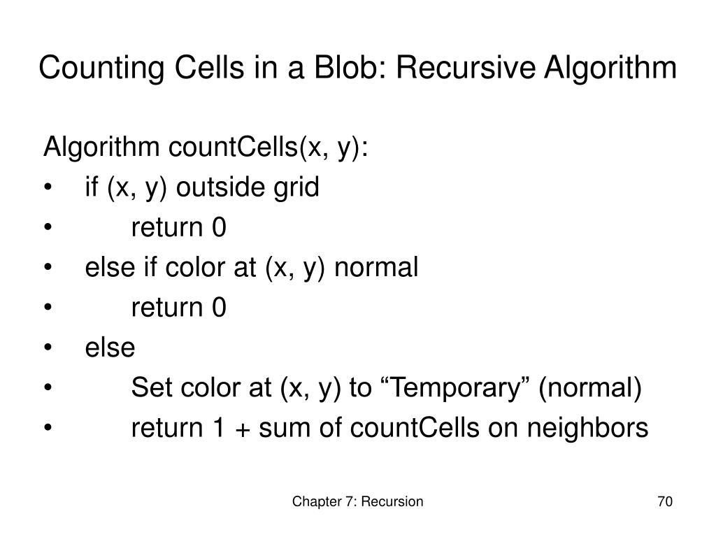 Counting Cells in a Blob: Recursive Algorithm