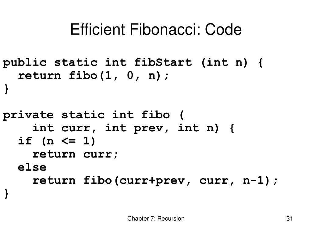 Efficient Fibonacci: Code