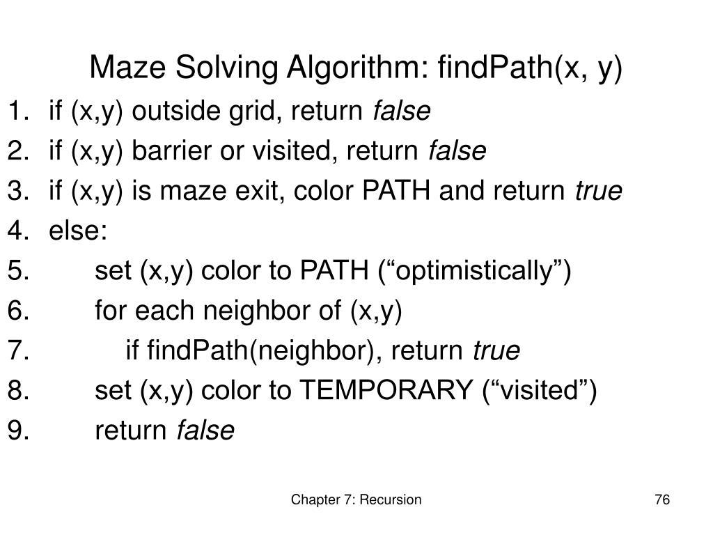 Maze Solving Algorithm: findPath(x, y)