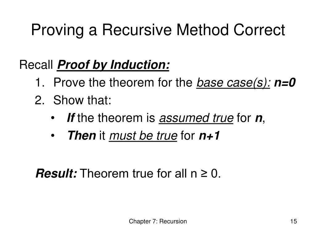 Proving a Recursive Method Correct
