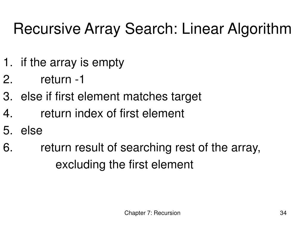 Recursive Array Search: Linear Algorithm
