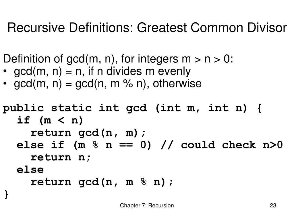 Recursive Definitions: Greatest Common Divisor