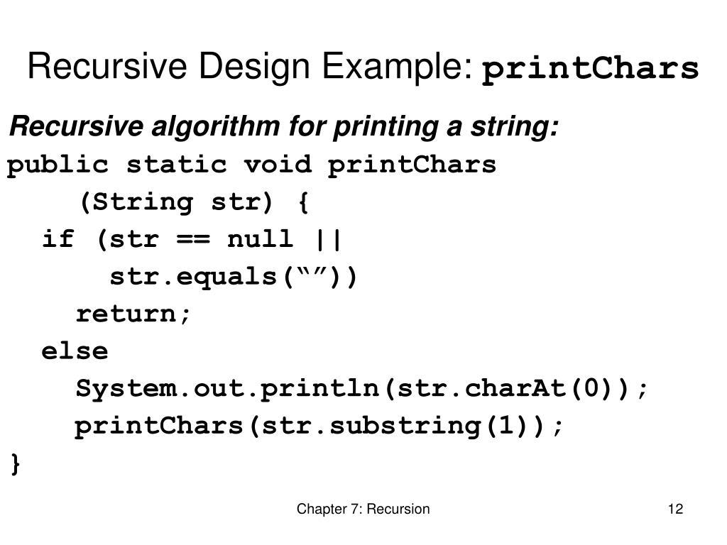 Recursive Design Example: