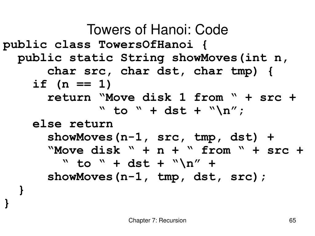 Towers of Hanoi: Code