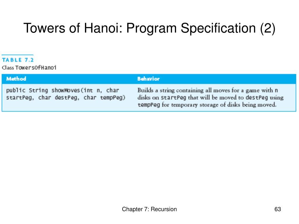 Towers of Hanoi: Program Specification (2)