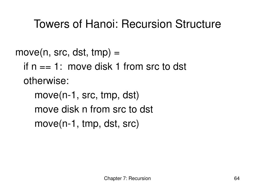 Towers of Hanoi: Recursion Structure