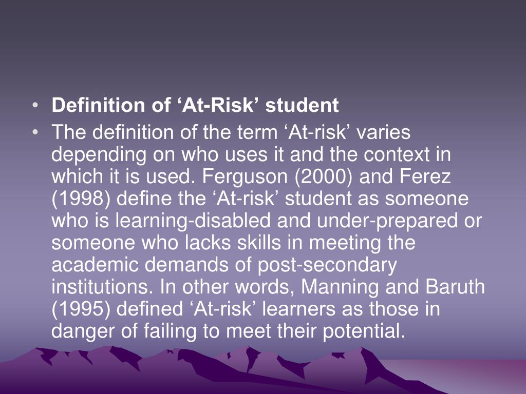 Definition of 'At-Risk' student