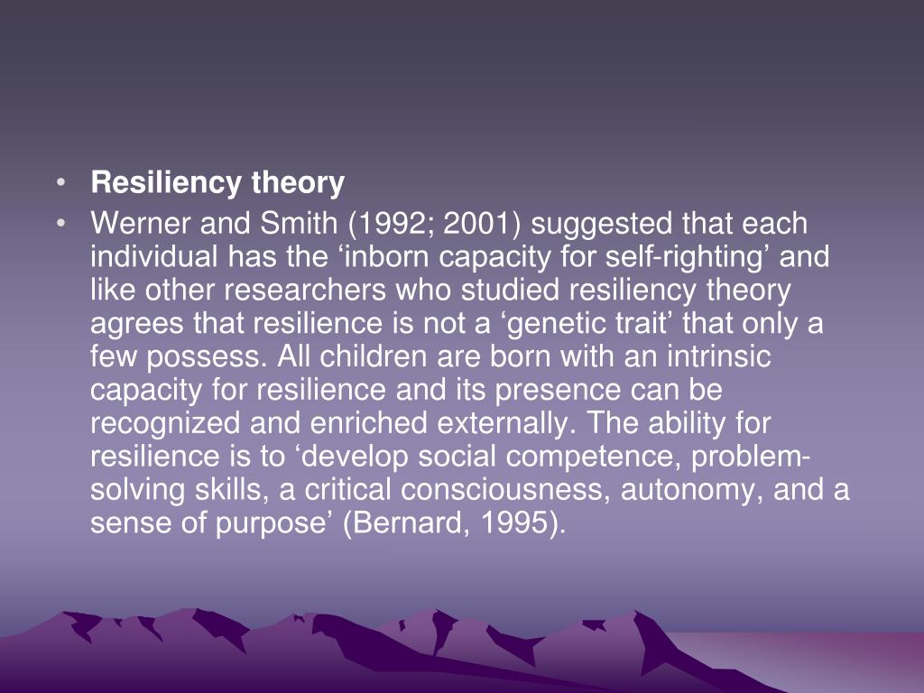 Resiliency theory