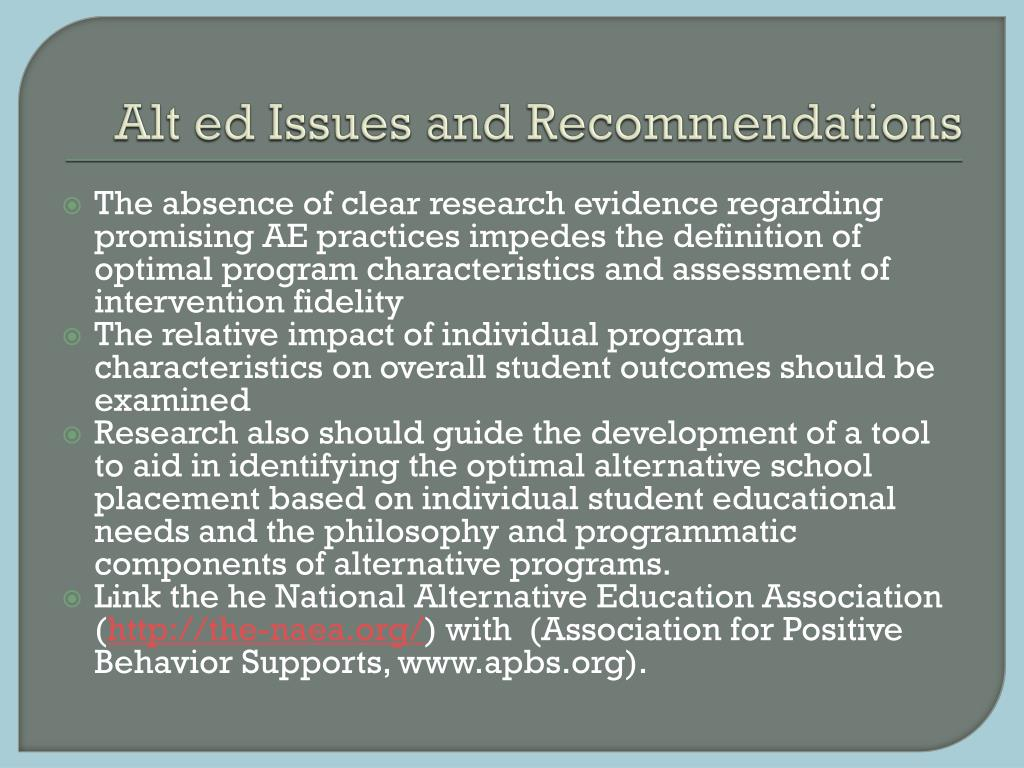 Alt ed Issues and Recommendations