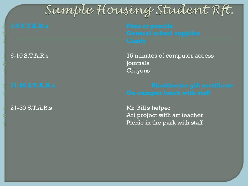 Sample Housing Student Rft.