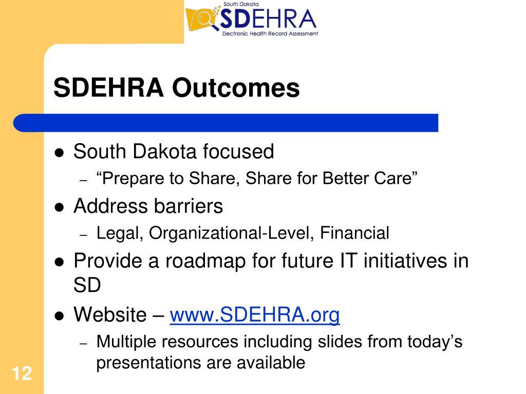 SDEHRA Outcomes