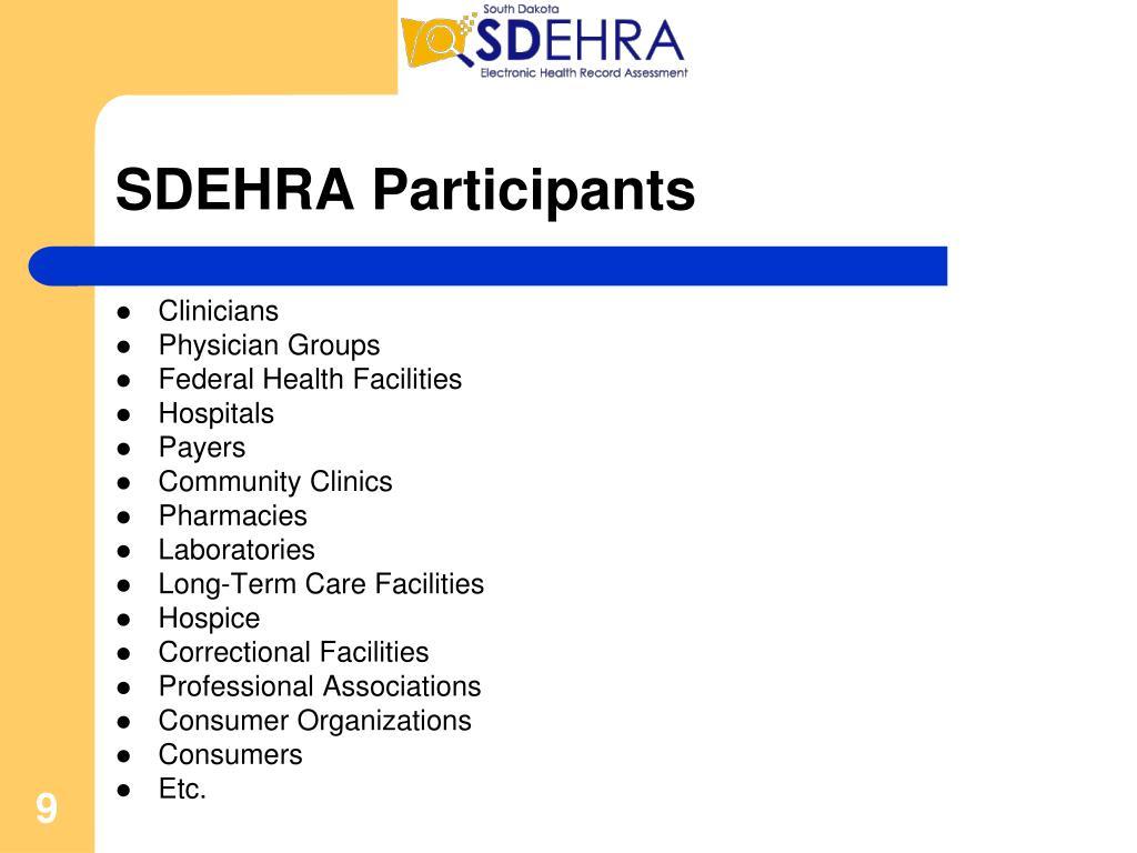 SDEHRA Participants