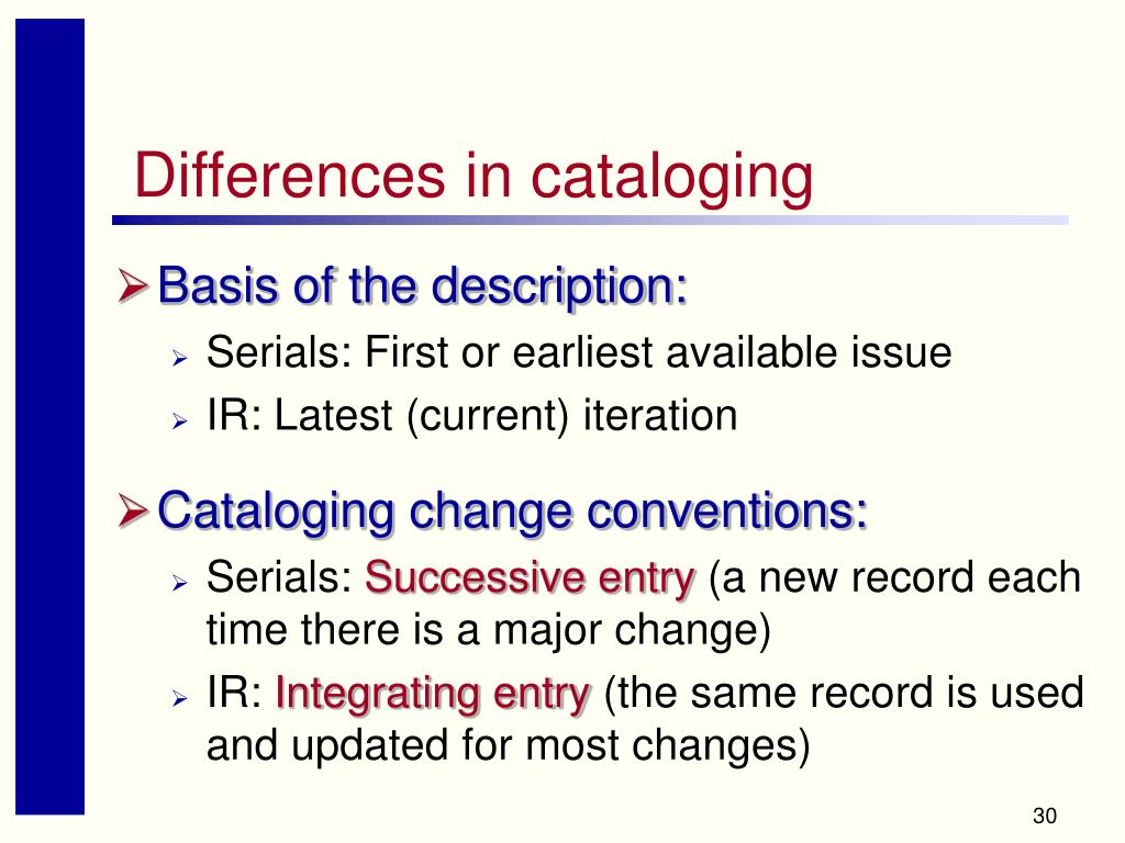 Differences in cataloging