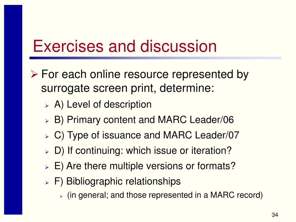 Exercises and discussion