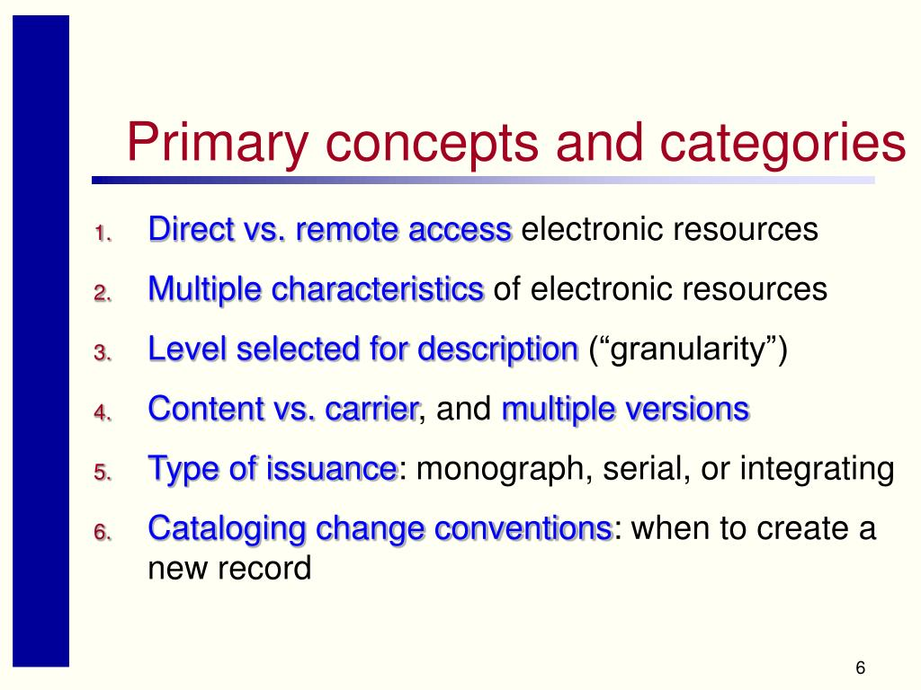 Primary concepts and categories