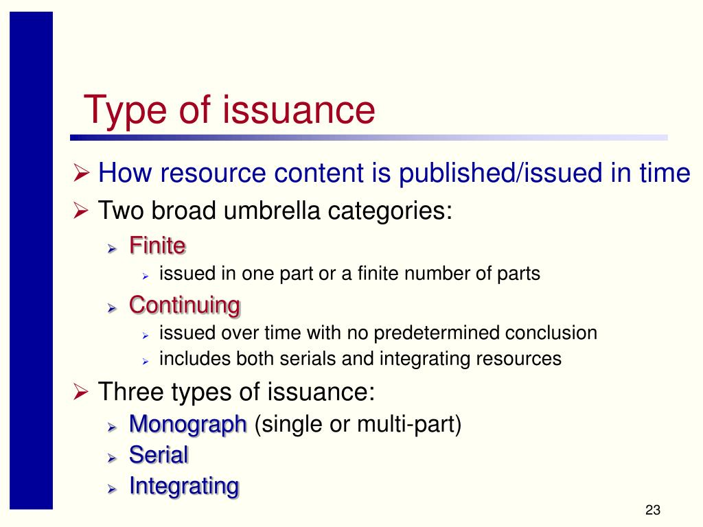 Type of issuance