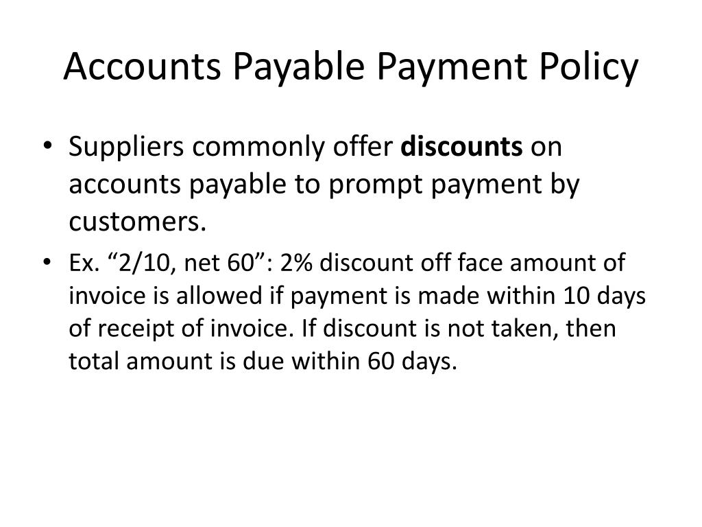 Accounts Payable Payment Policy