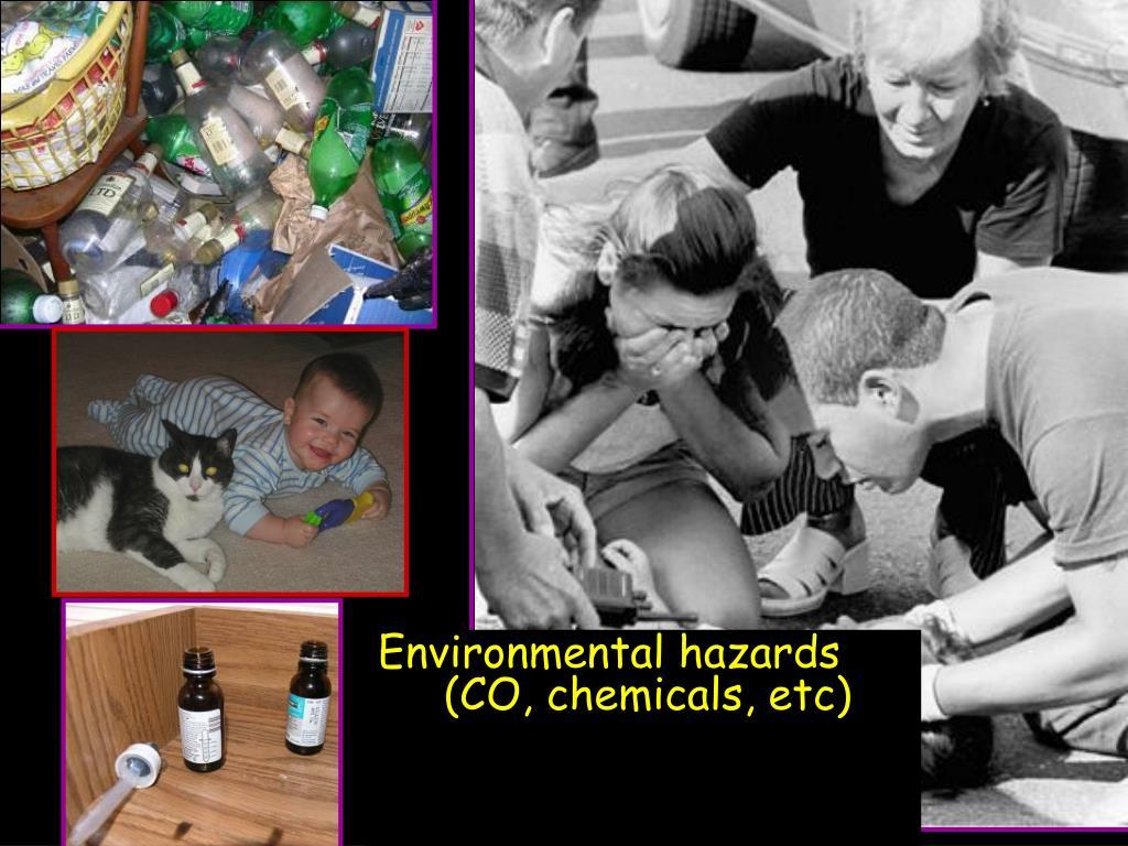 Environmental hazards (CO, chemicals, etc)