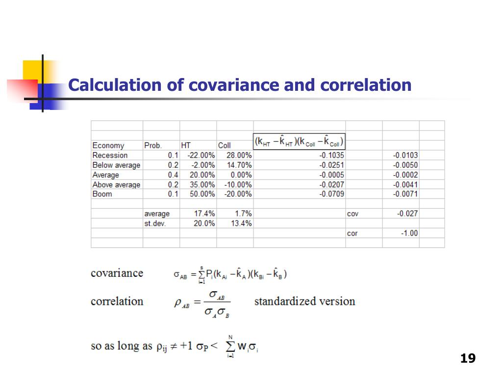 Calculation of covariance and correlation
