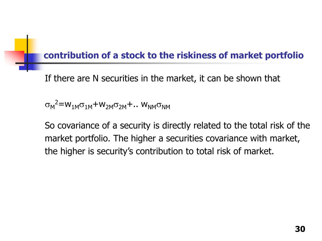 contribution of a stock to the riskiness of market portfolio