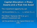capital allocation n risky assets and a risk free asset28