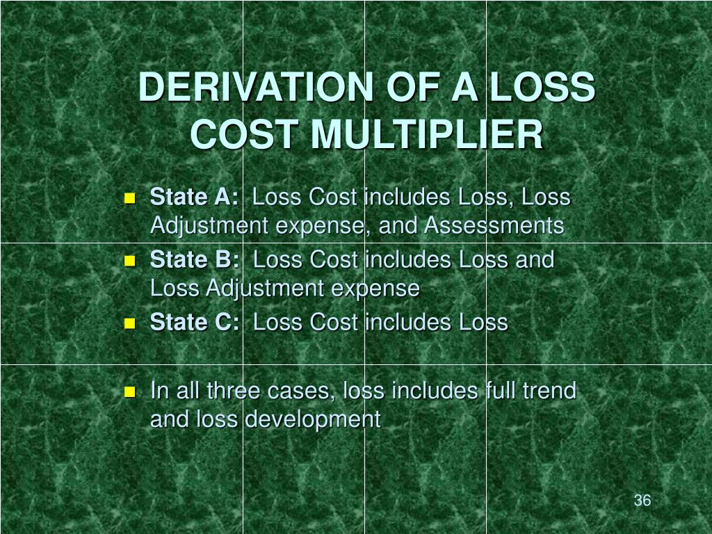 DERIVATION OF A LOSS COST MULTIPLIER
