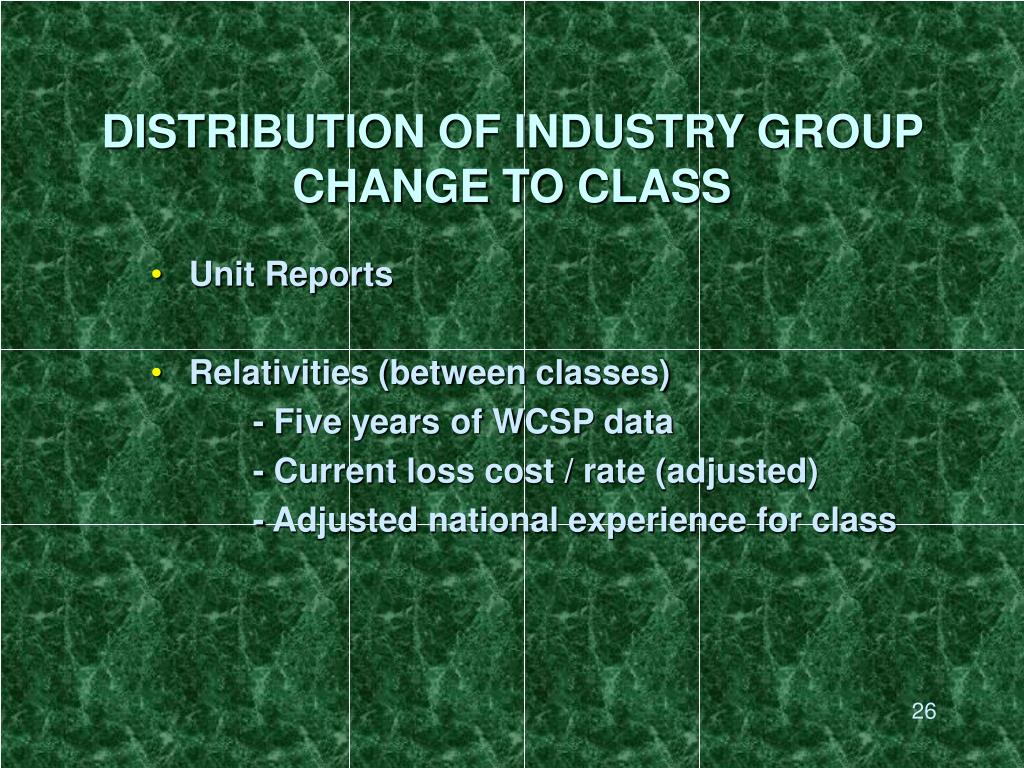 DISTRIBUTION OF INDUSTRY GROUP CHANGE TO CLASS