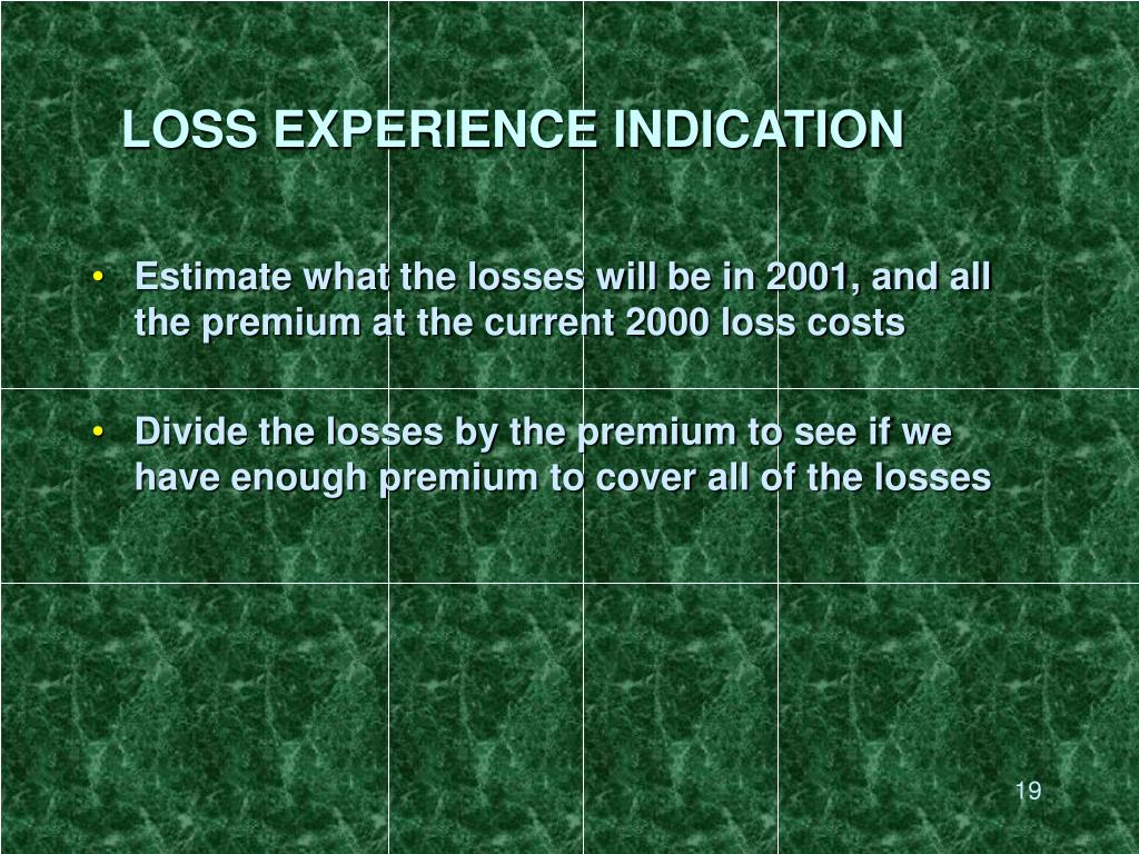 LOSS EXPERIENCE INDICATION