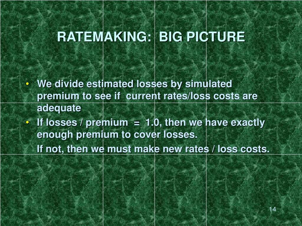 RATEMAKING:  BIG PICTURE