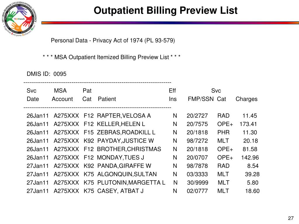 Outpatient Billing Preview List