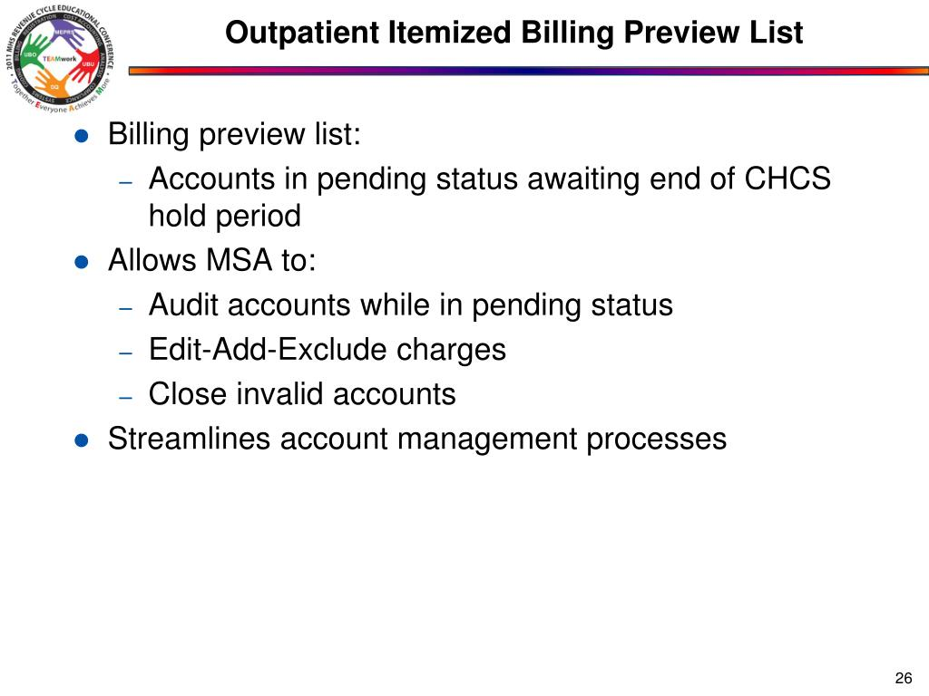 Outpatient Itemized Billing Preview List