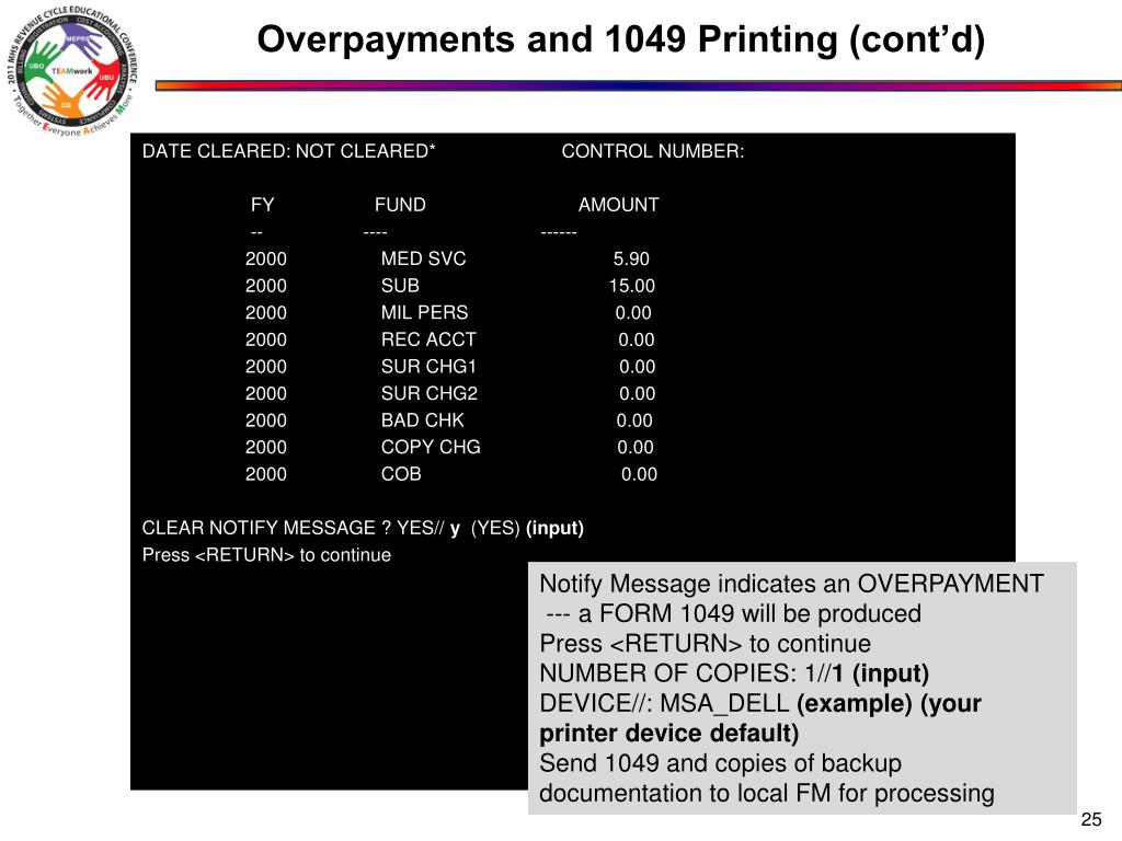 Overpayments and 1049 Printing (cont'd)