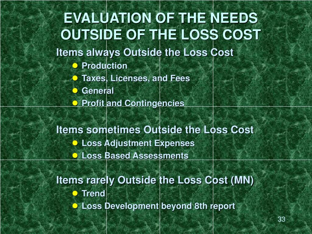 EVALUATION OF THE NEEDS OUTSIDE OF THE LOSS COST