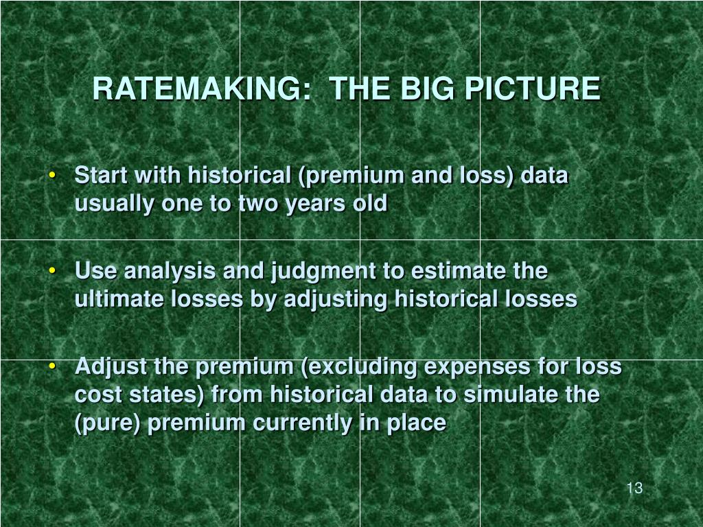 RATEMAKING:  THE BIG PICTURE