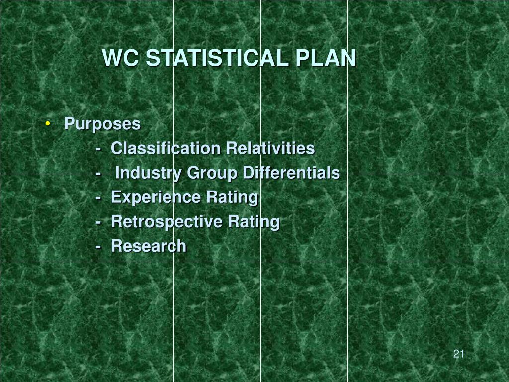WC STATISTICAL PLAN