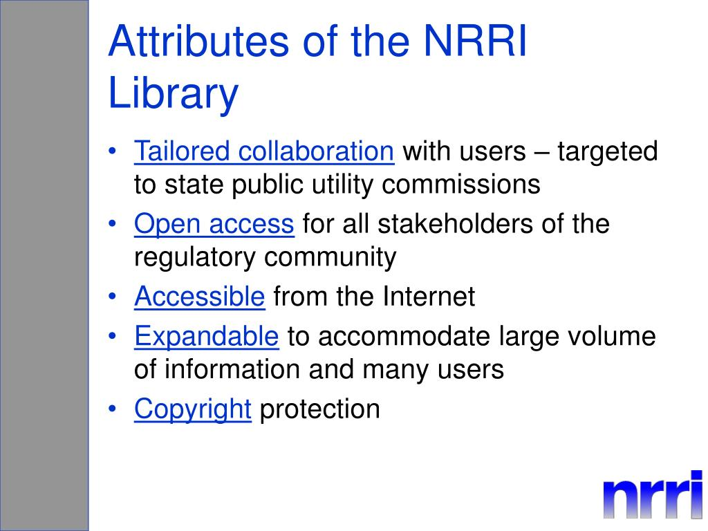 Attributes of the NRRI Library