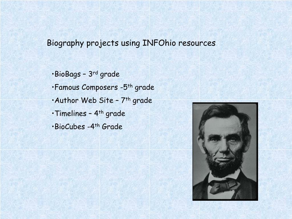 Biography projects using INFOhio resources