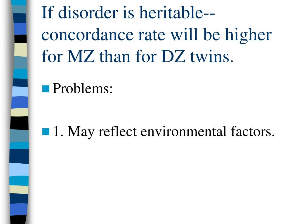 If disorder is heritable-- concordance rate will be higher for MZ than for DZ twins.