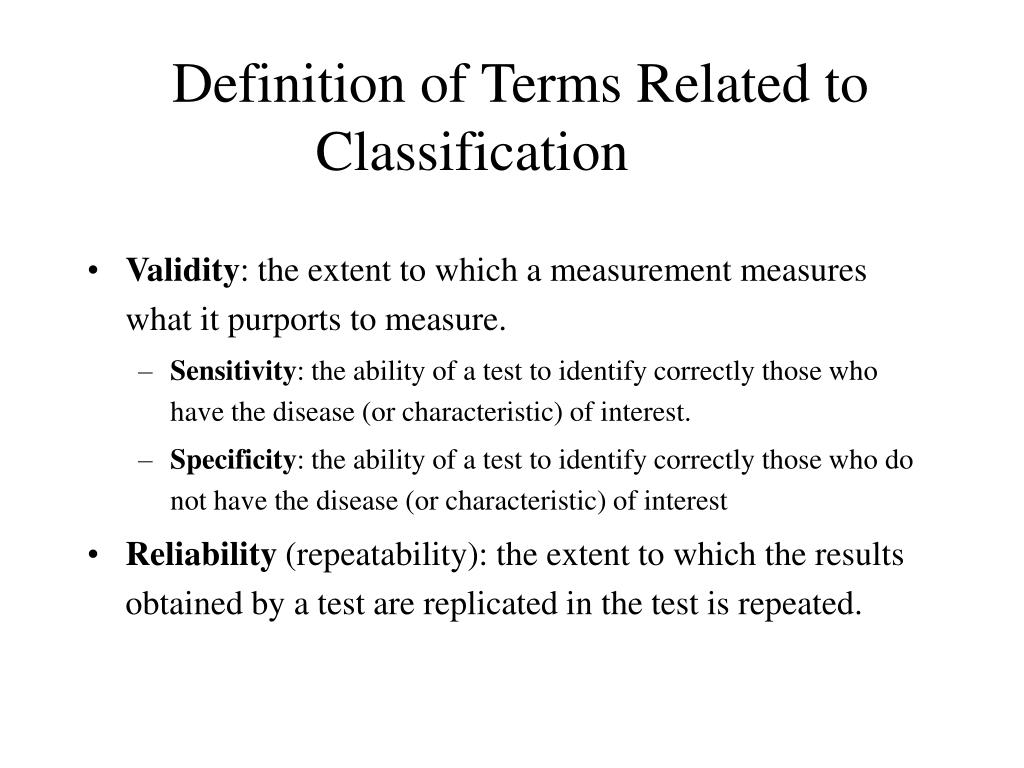 Definition of Terms Related to Classification