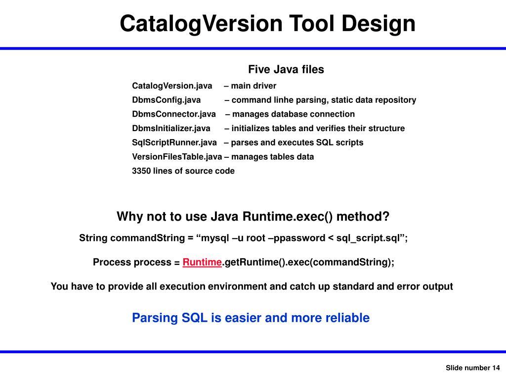 CatalogVersion Tool Design
