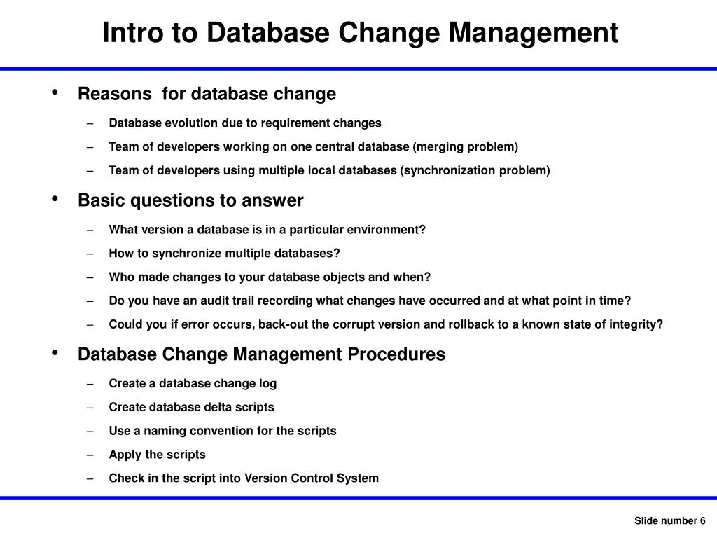 Intro to Database Change Management