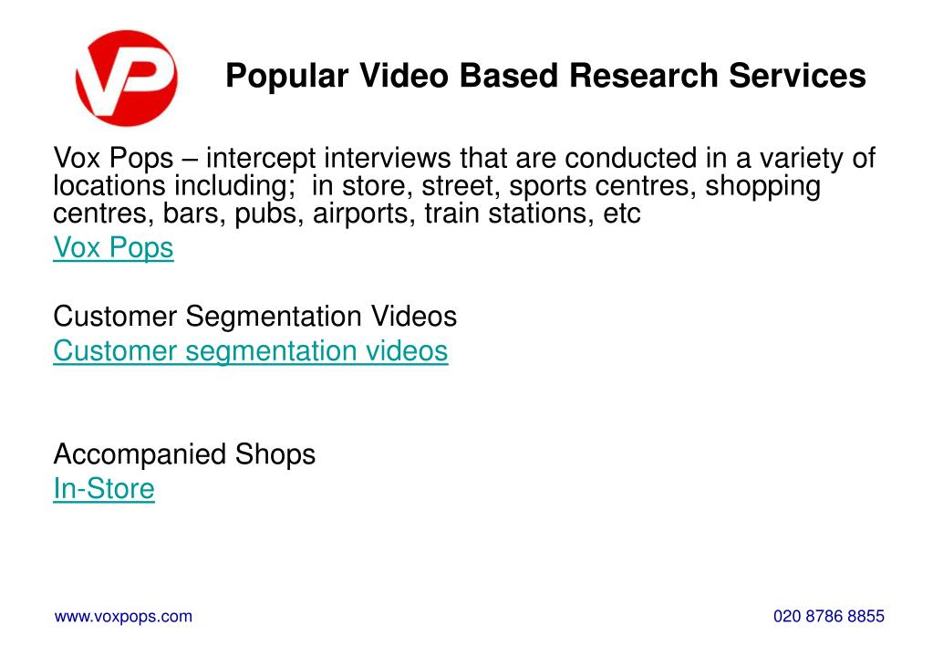 Popular Video Based Research Services