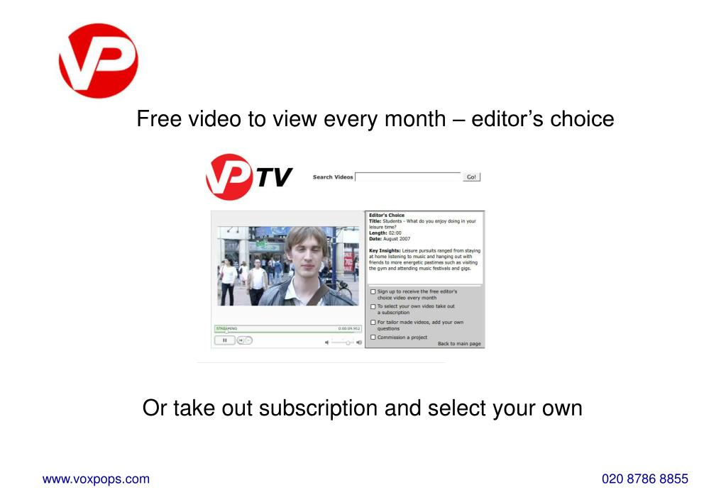 Free video to view every month – editor's choice