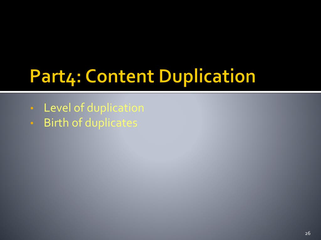 Part4: Content Duplication