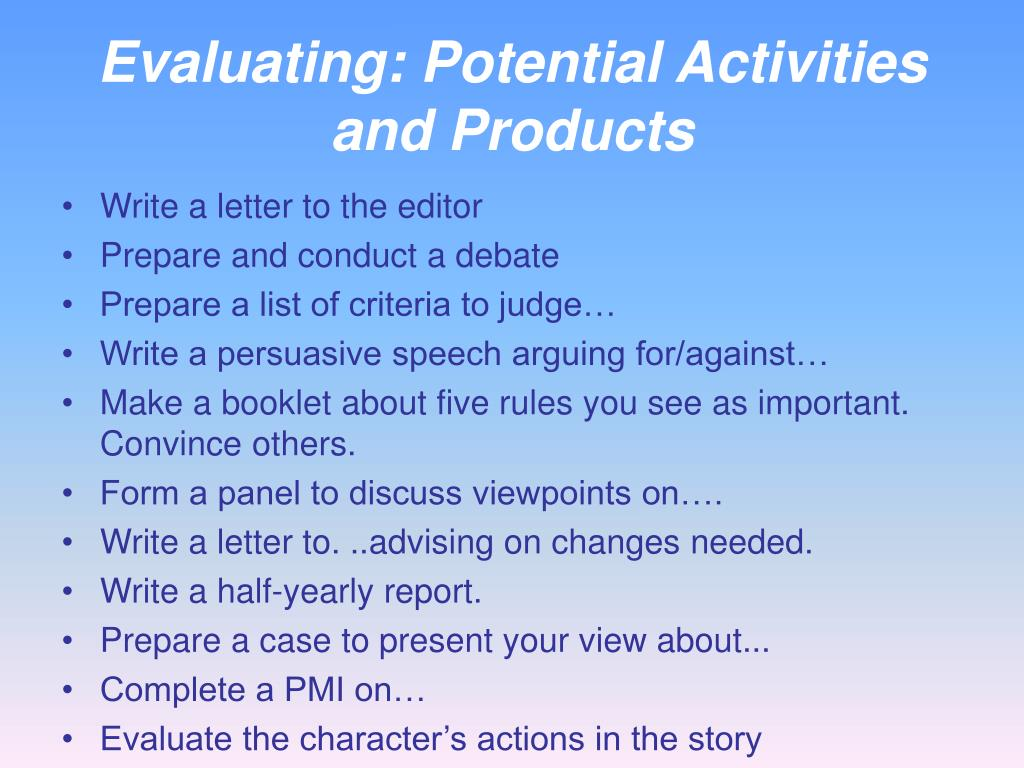 Evaluating: