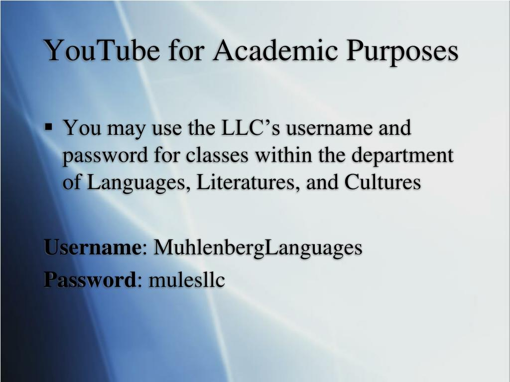 YouTube for Academic Purposes
